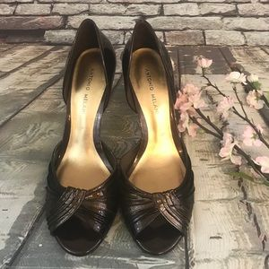 Antonio Melani Dark Brown Patent Leather Heels